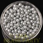 New 50pcs 6mm Round Glass Pearl Loose Spacer Beads Jewelry Making Light Gray