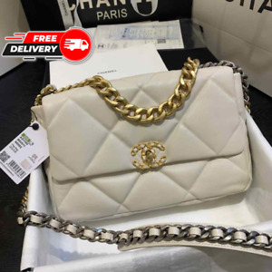 Chanel 19 Large Flap Bag, White Calfskin, Gold, Silver VIP Women Original