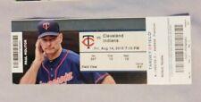 Minnesota Twins Vs Cleveland Indians 8/14/15 Ticket Stub Joe Mauer Home Run