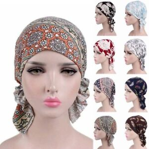 Women Printed Head Scarf Chemo Hat Turban Headwear Bandana Head Wrap Adjustable