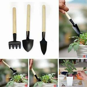3pcs Mini Garden Gardening Plant Tools Set with Wooden Handle Shovel Rake Spade