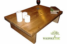 COFFEE TABLE, RUSTIC CHUNKY PINE HANDMADE SOLID WOOD MEDIUM OAK - Fast Delivery!