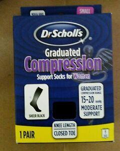 DR SCHOLLS WOMEN COMPRESSION KNEE SOCKS, BLACK, MOD SUPPORT 15-20MMHg