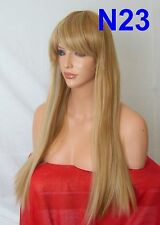 Brown Blonde Wig Fashion Long Straight Full Fringe Women Ladies Hair Wigs N23
