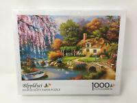 Blppldyci Jigsaw Puzzle 1000 - Sakura River Cottage - New -Damaged Corner of Box
