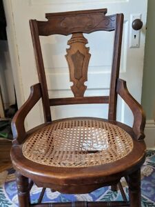 Antique Renaissance Revival Walnut Dining Room Chairs with Caned Seats