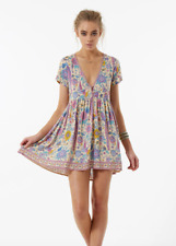 SPELL & THE GYPSY COLLECTIVE Lovebird Mini Dress Chamomile Sz Small