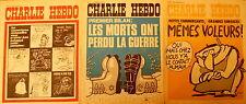 Lot de 3 CHARLIE HEBDO  8, 15 et 22 octobre 1973 ; n°s 151,152 et 153