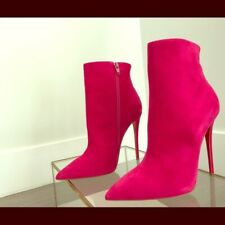 Brand New Christian Louboutin Cyclamen Pink Suede So Kate 120 Booty ankle boots