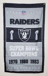 Raiders Super Bowl Banner 3x5 Ft Flag Man Cave Wall Decor Gift NFL Oakland Vegas
