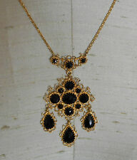 Ornate Victorian Style 14K Yellow Gold Filigree & Faceted Onyx Lavalier Necklace