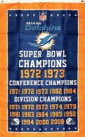 Miami Dolphins NFL Super Bowl Championship Flag 3x5 ft Sports Banner Man-Cave