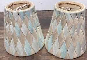 """Set Of 2 Small Clip On Lamp Shades Blue & Beige Woven Fabric  5 1/4"""" X 5"""" X 3"""""""