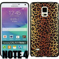 For Samsung Galaxy Note 4 -HARD RUBBER GUMMY GEL CASE BROWN CHEETAH LEOPARD SKIN