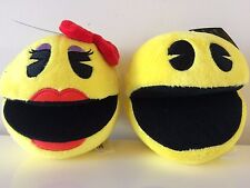 Pac-Man Set of 2 Plush 5 '' Yellow Mr and Mrs Pac-Man. Licensed. Brand New. USA