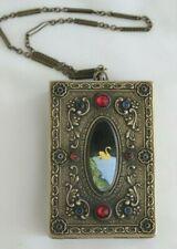 Vintage Guilloche Jeweled Vanity / Necessaire Case W/ Enamel Golden Swan