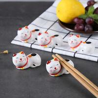 Japanese Chopstick Rest Lucky Cat Holder Ceramic Pen Stand Rack Kitchen Flatware