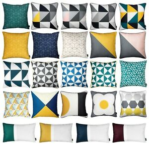 "Cushions Geometric Mustard Yellow Grey Rectangle Sofa Top Pillow Cover 45cm 18"""