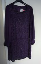 TOGETHER Purple beaded Cocktail/Evening Dress Size 16