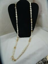 """Tory Burch Capped Crystal Pearl Long Necklace 36"""" Gold tone"""