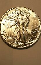 1944-d   uncirculated  walking liberty half dollar very white luster!