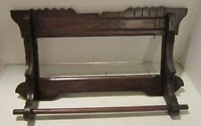 Antique walnut wood Victorian era towel bar-panel to hold mirror-picture-embrdry