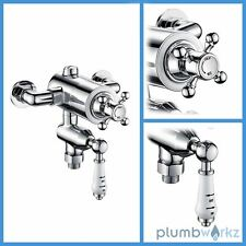 Edwardian Traditional Dual Exposed Chrome Thermostatic Shower Mixer Valve