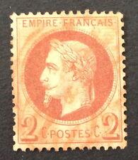 Timbre France, n°26, 2c brun, TBC, Obl rouge, Cote 40e