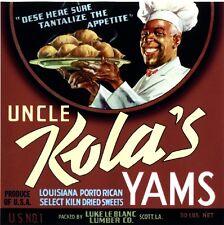 Scott Louisiana Uncle Kola's #2 Sweet Potato Yams Vegetable Crate Label Print