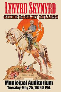 Lynyrd Skynyrd at Municipal Auditorium  * Robert E. Lee * Poster 1976  12x18
