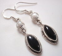 Cultured Pearl and Black Onyx Marquise 925 Sterling Silver Dangle Earrings