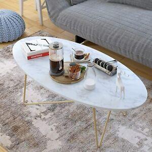 Couchtisch Beistelltisch Marmor Optik Kaffetisch Weiß Oval Goldaus Metall Holz