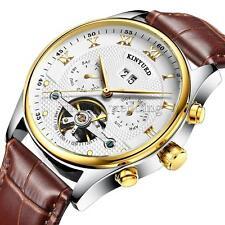 Luxus Herren Automatik Mechanische Business Armbanduhr Echtes Leder Strap