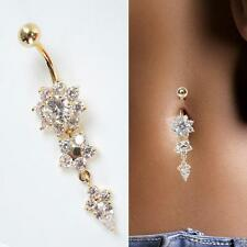 Hot Body Piercing Jewelry Crystal Dangle Flower Button Belly Navel Ring Bar