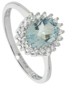 Aquamarine and Diamond Ring White Gold Cluster Engagement Appraisal Certificate