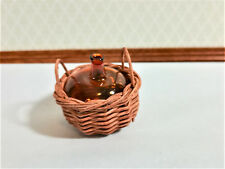 Dollhouse Miniature Carboy or Demijohn Amber Glass Bottle in Wicker Basket 1:12