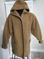 SIGI SCHEIBER Made in Austria 100% WOOL Hooded 3-Button Cardigan COAT sz 38