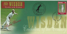 GRENADA WISDEN 2000 CRICKET SHANE WARNE 1v FIRST DAY COVER No 2 of 8