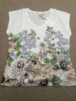Ted Baker Size 2 (UK 10)Women's Gem Garden Woven Front V Neck T-Shirt Top. Bnwt