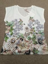 Ted Baker Women's Gem Garden Woven Front V Neck T-Shirt Top. Size 2 (uk10) Bnwt