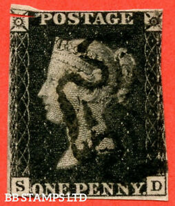 """SG. 2. A1 (2). AS57. """" SD """". 1d Black. Plate 9. A fine used example cance B55488"""