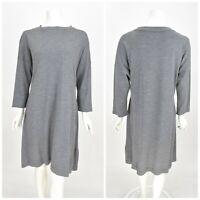 Womens TOAST 100% Wool Shift Tunic Dress Grey Basic 3/4 Sleeve Size 16UK