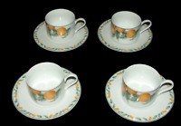 Four Coventry Fine Porcelain Country Fruit Coffee Cups & Saucers Vintage China