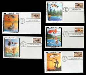 Fishing Flies 5 First Day Covers and Commemorative Sheet with the 5 Stamps MINT