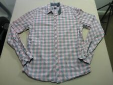 088 MENS NWOT INDUSTRIE PINK / GREY CHECK L/S SHIRT SZE MEDM $100 RRP.
