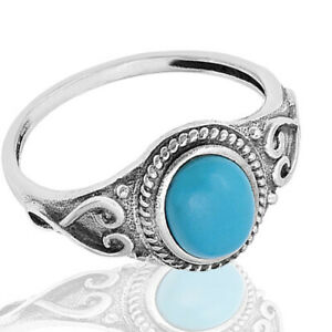 Oval Turquoise Fashion Sterling Silver Ring