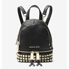 Michael Kors Rhea Mini Studded Leather Backpack Black