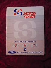MOTOR SPORT Auto Racing Media Kit into the Future 1984 DERRIKE COPE BOBBY RAHAL