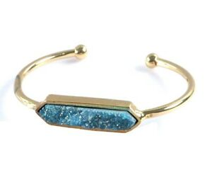 Turquoise Blue Agate Titanium Druzy Bezel Bangle Stacking Bracelet Gold Drusy OS