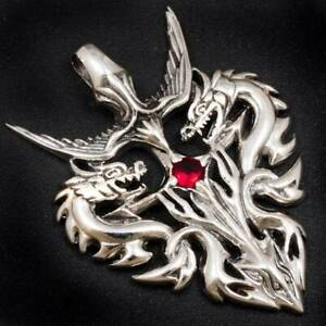 13g DOUBLE DRAGON SWORD EAGLE RUBY 925 STERLING SOLID SILVER MENS WOMENS PENDANT
